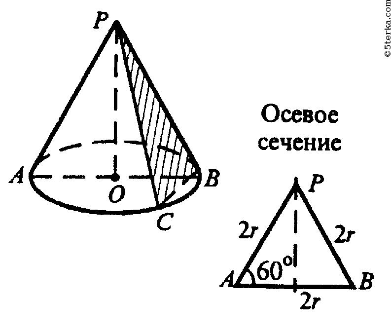 551. Осевое сечение конуса — правильный треугольник со стороной 2г ...