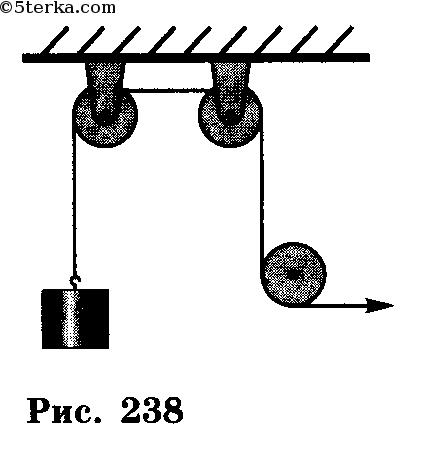 У каждого неподвижного блока (рис. 238) КПД равен 0,9. Определите КПД всей установки.