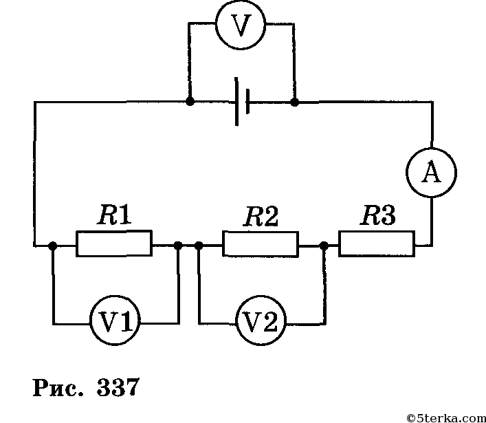 Начертите схему электрической цепи состоящей из источника тока лампочки ключа амперметра вольтметра