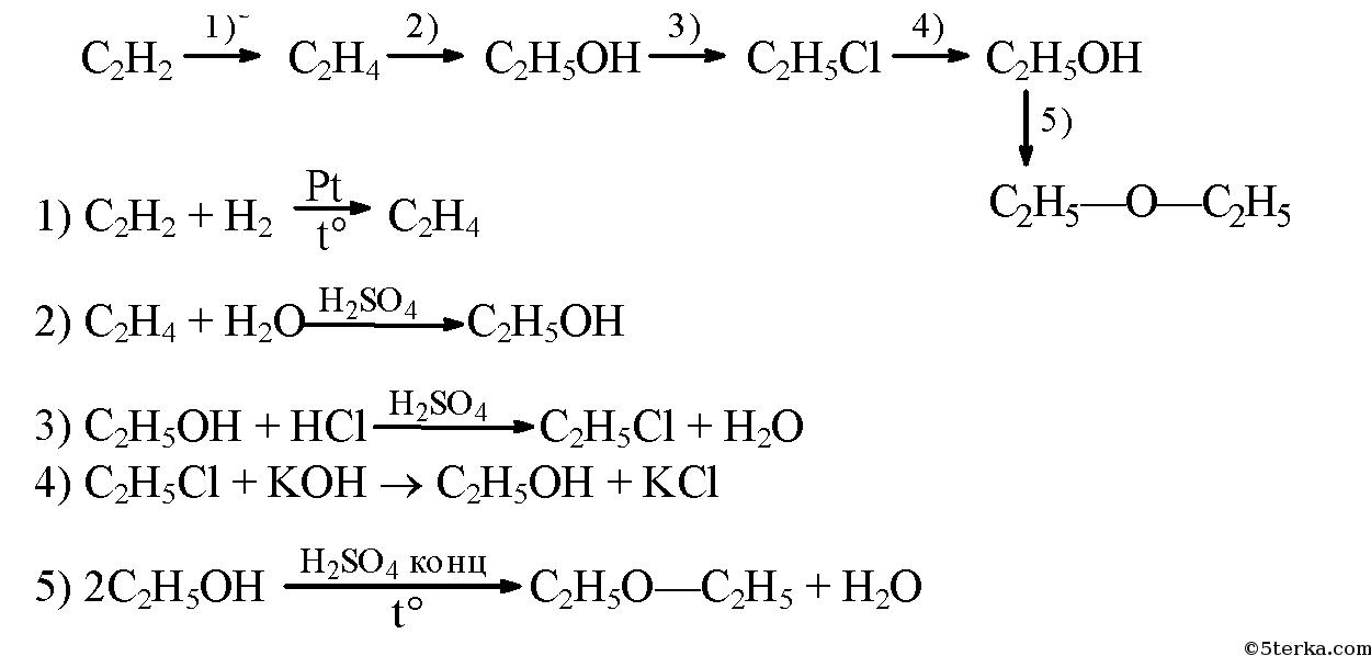 Запишите уравнения реакций с помощью которых можно осуществить следующие превращения этилен этанол э