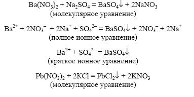 составьте уравнения соответствующих реакций в молекулярном виде